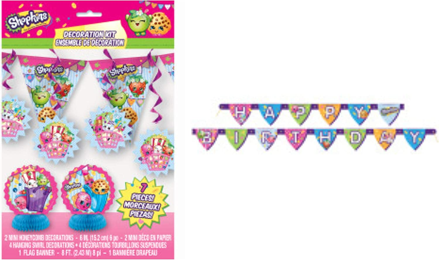 Shopkins Birthday Banner Party Backdrop Sign Decoration kid