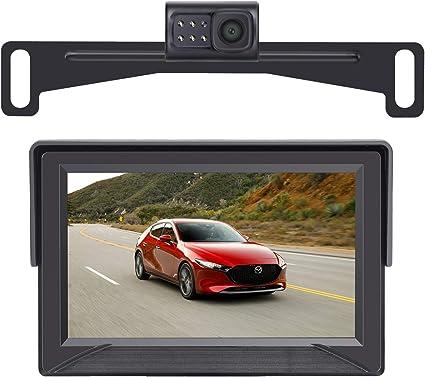 LeeKooLuu HD 720P Backup Camera and 4.3 Mirror Monitor Kit for Cars//Vans//Trucks//Pickup//Small Trailer Hitch Backup Camera Single Power Rear View System Driving//Reversing Use Super Night Vision