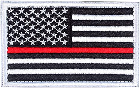 Thin Red Line Fire Fighter usa Flag REVERSED ACU HOOK 2PC  PATCH
