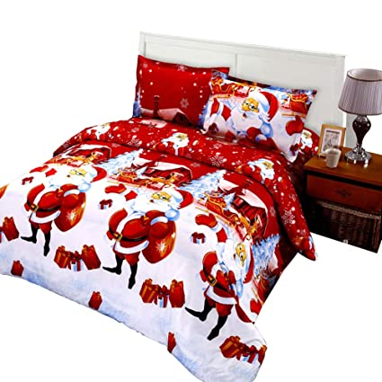 Twin Christmas Bedding Sets.Jessy Home Christmas Bedding Sets Twin Size Bed Sheet Duvet Cover Pillowcase Christmas Decoration