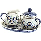 Polish Pottery Peach Blossom Sugar & Creamer Set with Tray