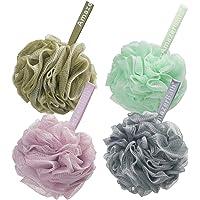 AmazerBath Shower Bath Sponge Shower Loofahs Balls 60g/PCS for Body Wash Bathroom Men Women- Set of 4 White Grey-Pink…