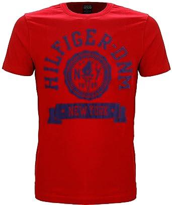 25729868 Tommy Hilfiger Denim Federer Logo Crew Neck T-Shirt Red (Medium): Amazon.co. uk: Clothing
