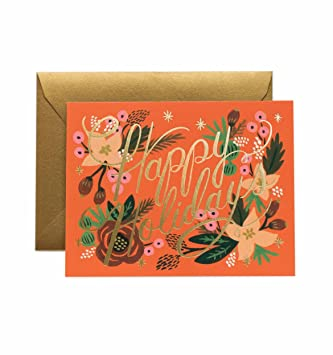 Floral Happy Holidays Gcx040 Christmas Card Set By Rifle Paper Co Set Of 8 Cards And Envelopes