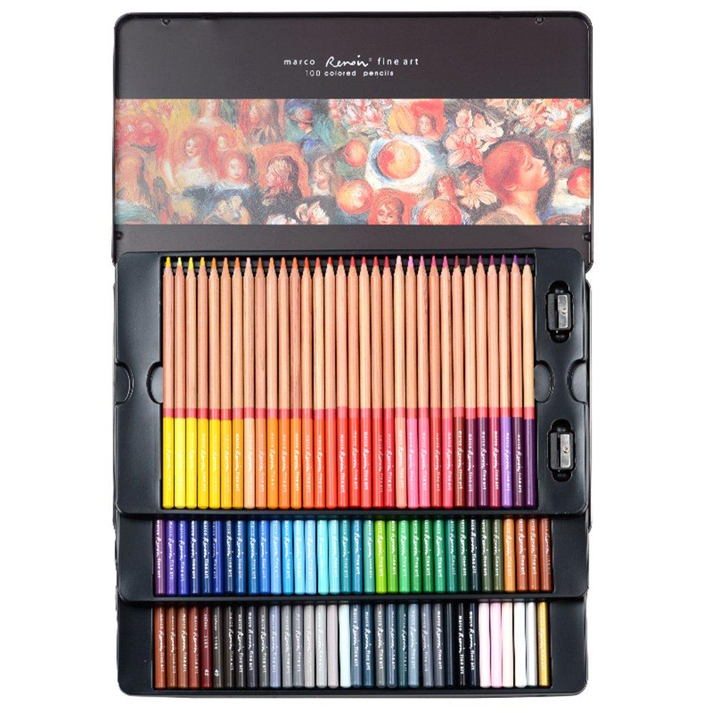 Caja de lata con lápices de colores Newdoer Marco Renoir, 100 colores al óleo para dibujar bocetos