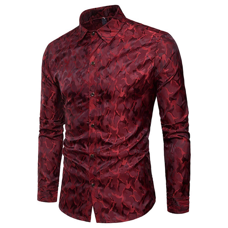 EspTmall Men/'S Shirt Slim Fit Stripe Long Sleeve Casual Button Shirts Formal Top Blouse Gray M China