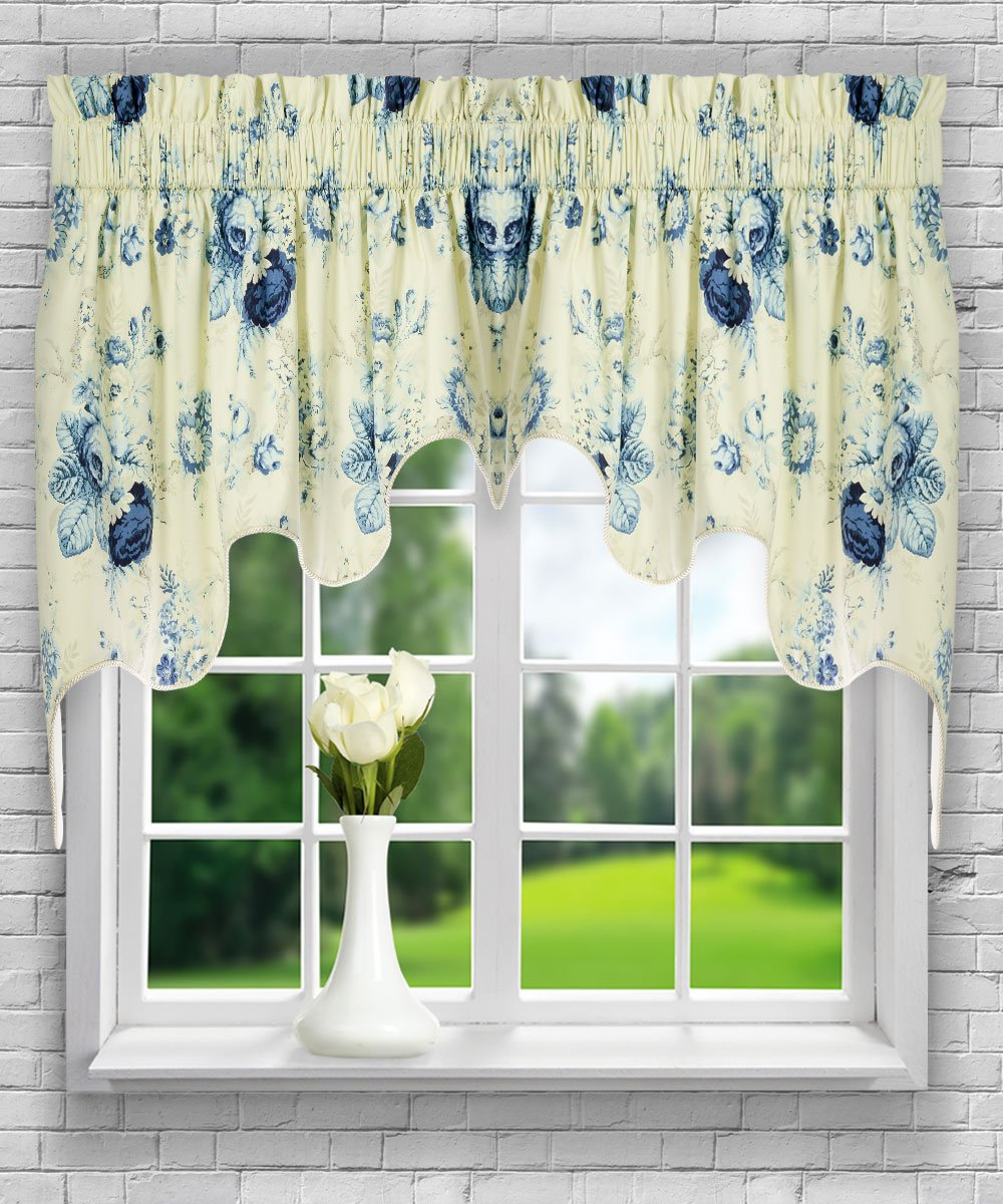 Ellis Curtain Sanctuary Rose 50-by-21 Inch Lined Tie-Up Valance, Cornflower 730462123145