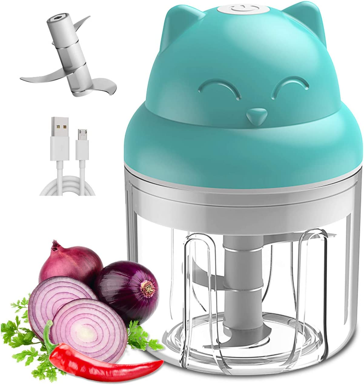 Mini Food Processor, Mini Veggie Chopper, Rechargeable Pepper Blender, Wireless Small Food Processor, Powerful Garlic Mincer for Garlic/Chili/Vegetables/Onions/Pepper/Ginger/Meat, 250ML (Blue)