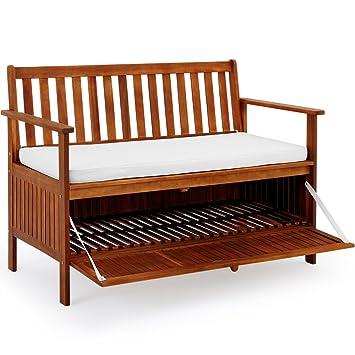 Amazon De Deuba Gartenbank 2in1 Holz Staufach Inkl Sitzauflage