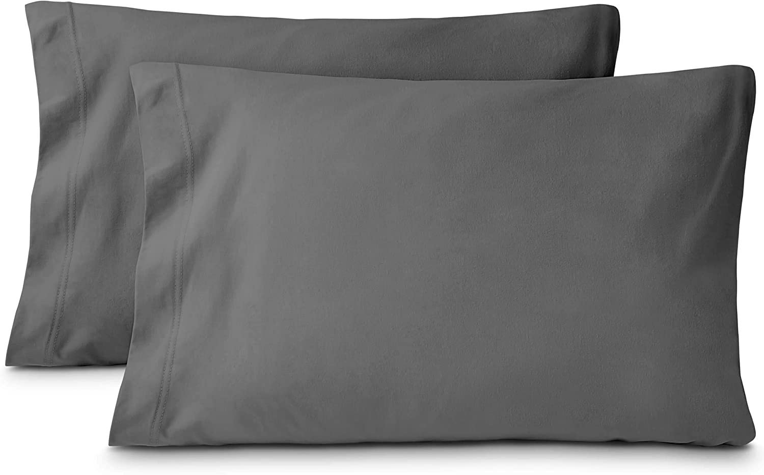 Bare Home Jersey Knit 100% Cotton (T-Shirt) Pillow Case Set - All Season - Cozy Pillowcases (Standard Pillowcase Set of 2, Grey)