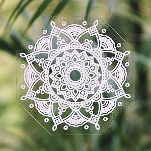 Gypsy Dreaming Beautiful Hand Designed Mandala Sticker Decal White Wild Flower - 4.4
