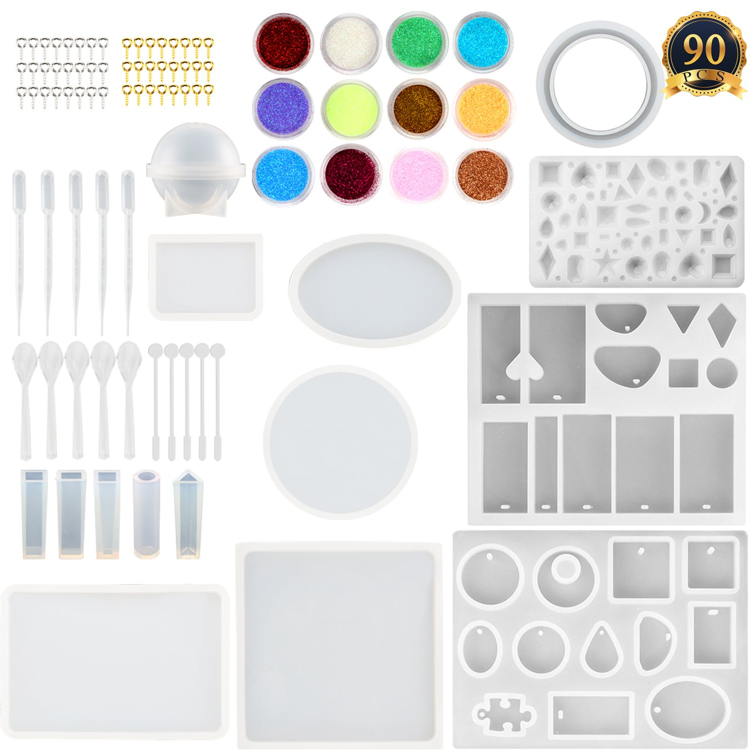 SUBANG 15 Pack Jewelry Casting Molds Silicone Resin Jewelry Molds with 48 Screw Eye Pins, 5 Plastic Stirrers, 5 Plastic Spoons, 5 Plastic Droppers and 1 Glitter Powder Sequins