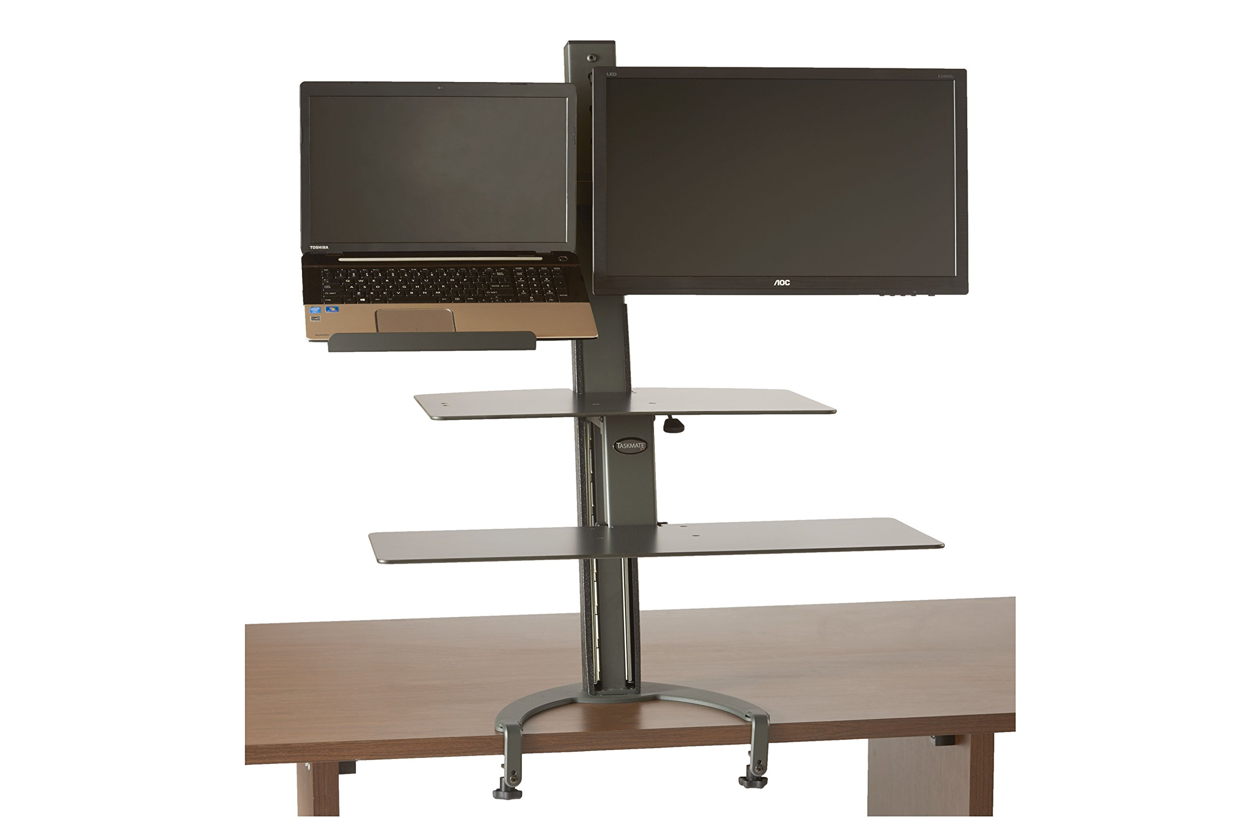 HealthPostures TaskMate Go Laptop With Large Work Surface and Large Keyboard Tray 6362 Adjustable Assisted Lift Standing Desk