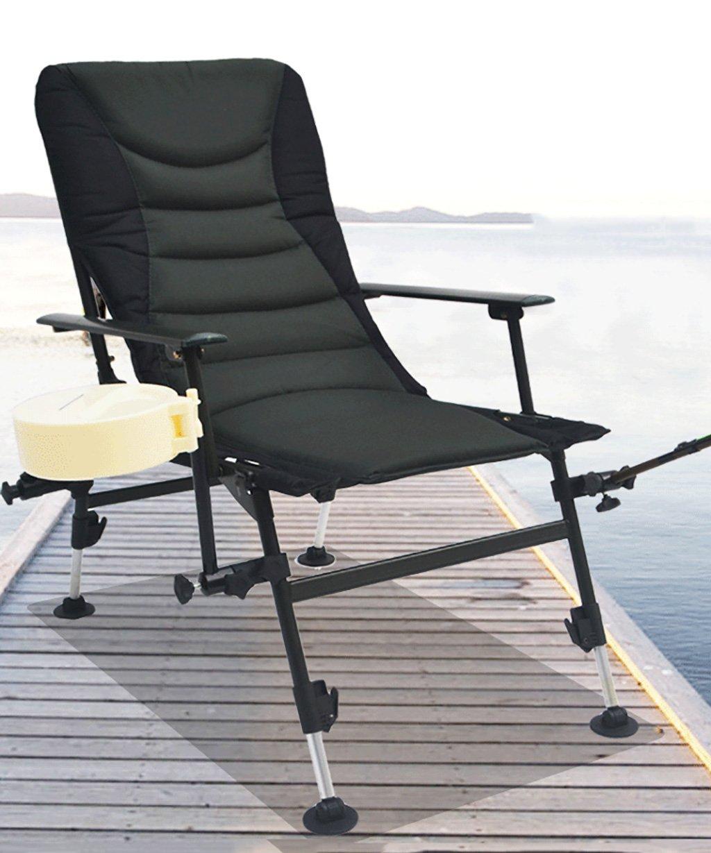 LIANJUN Fischerstuhl Klapp- im Freien Strand-Stuhl Polster- Camping-Stuhl Sun Lounger Faltbare Liegestuhl liegend Gartenstuhl Angeln Campingstuhl