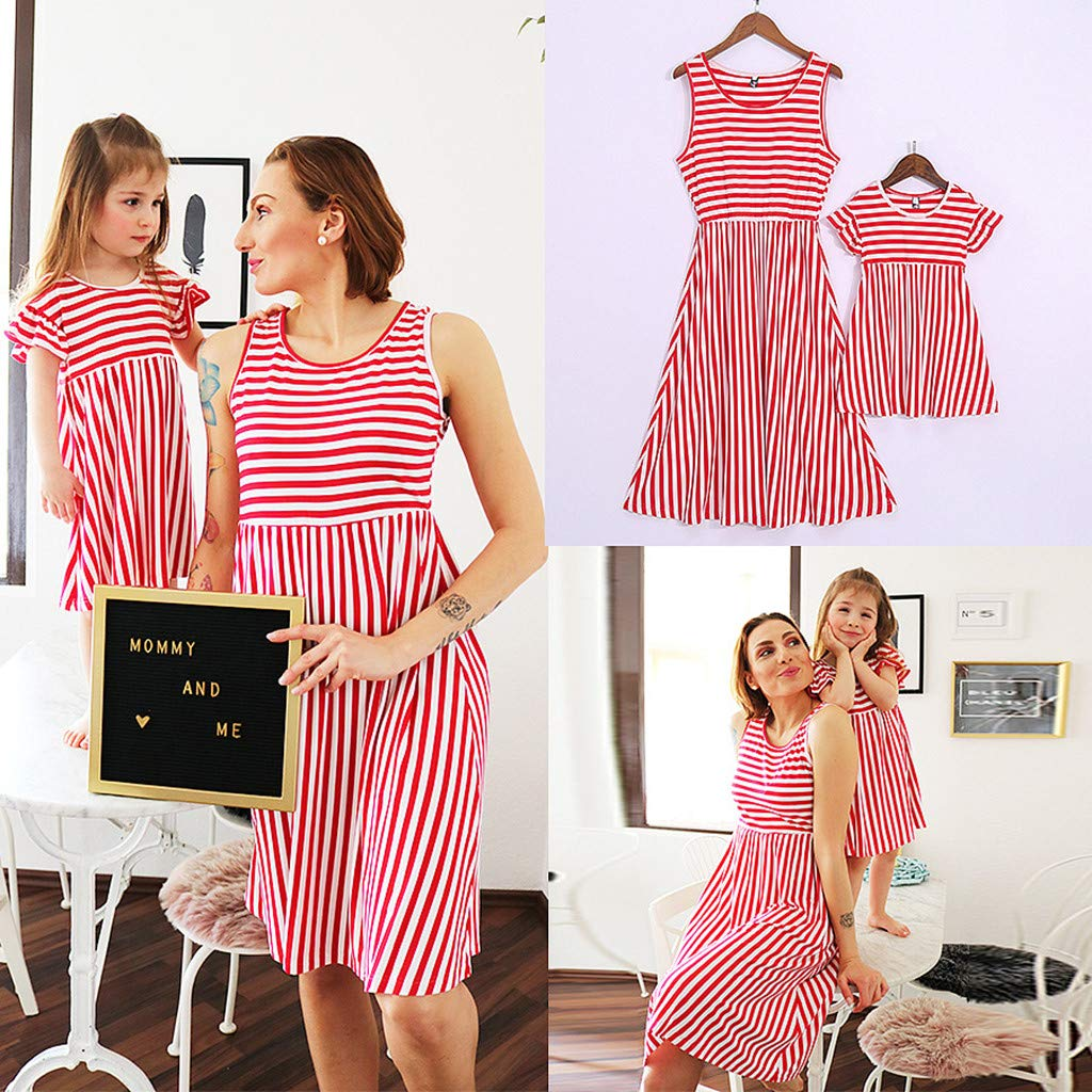 Mommy&Me Women Family Summer Sleeveless Stripe Print 4th of July Dress