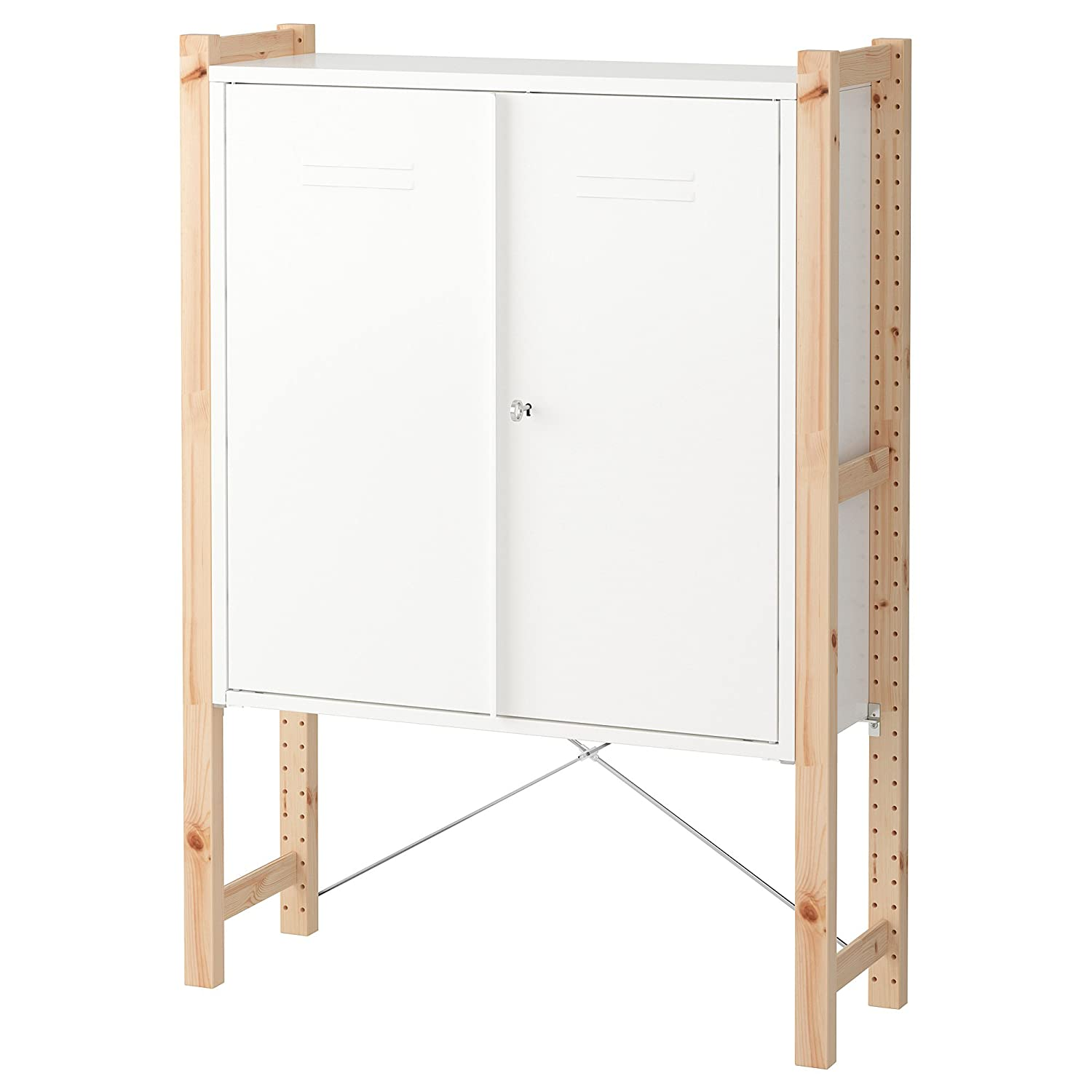Amazoncom Ikea Ivar Cabinet With Doors Pine White Kitchen Dining