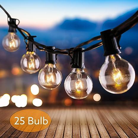 Cadena de Bombillas, AODOOR Luces de Cadena G40 Guirnaldas luminosas de exterior Guirnalda de Luces