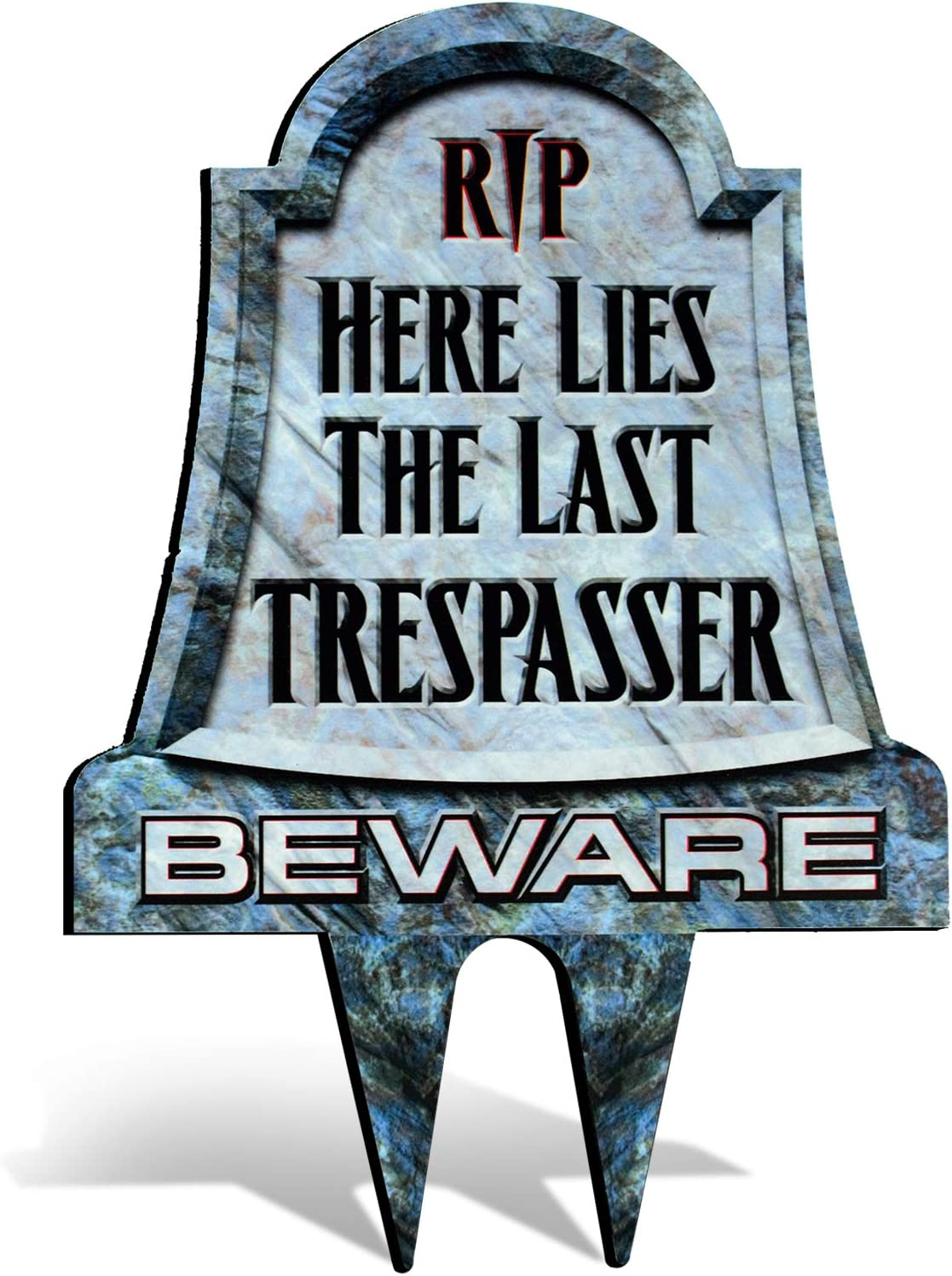 Bigtime Signs No Trespassing Metal Tombstone - Yard Warning for Private Property - Scary and Funny Gravestone with Easy Ground Stake Installation - Cool Graveyard Halloween Decoration - 16 x 11 Inch