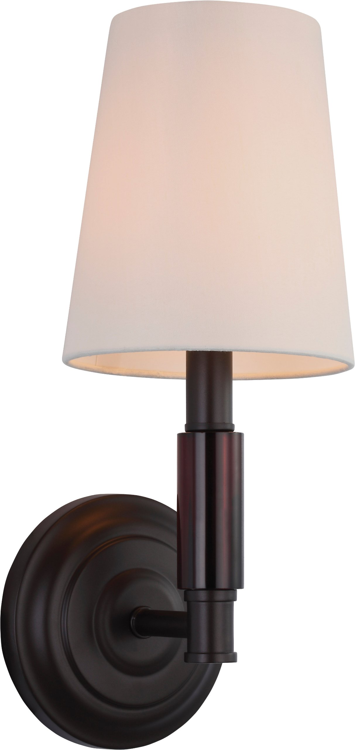 Feiss WB1717ORB Lismore Fabric Shade Wall Sconce Lighting, Bronze, 1-Light (6''W x 14''H) 60watts