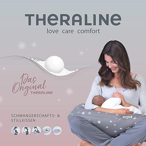 Theraline Original - Cojín de lactancia con microperlas relleno y funda de algodón Cielo estrellado diseño 106 gris melange-grau