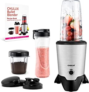 CHULUX Smoothie Bullet Blender Maker with Recipe Book, 20000RPM High Speed for Wet Blending & Dry Grinding ,Grind Seeds & Spices or Powder Sweetener, Blender for Shakes & Sorbets, Blender with 3 Sized Cups Including Travel Cup