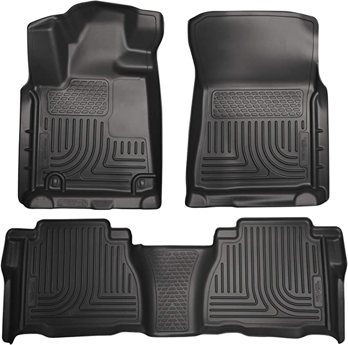Footwell Coverage Husky Liners Fits 2007-11 Toyota Tundra CrewMax//Double Cab Weatherbeater Front /& 2nd Seat Floor Mats