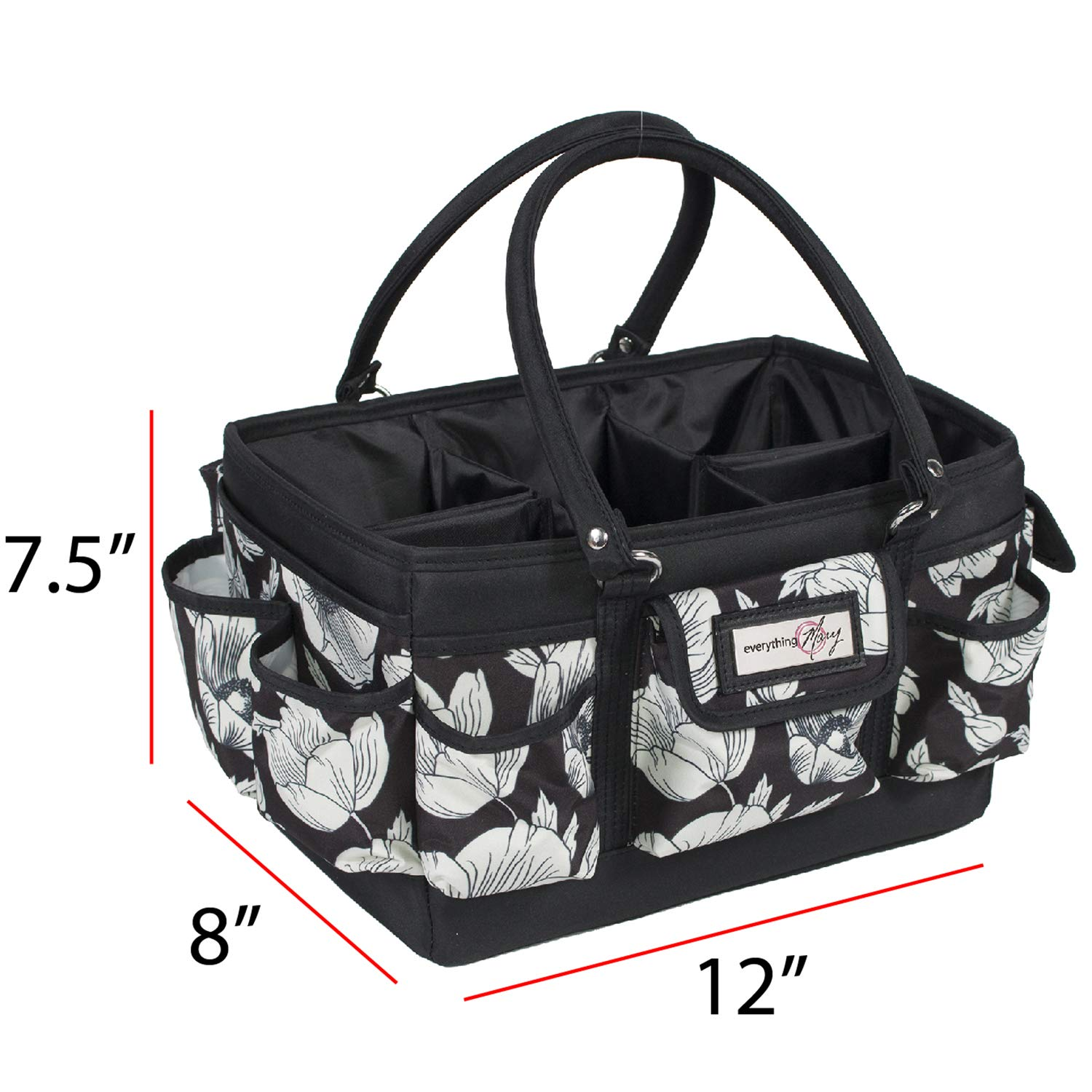 Sewing Everything Mary Black /& Floral Deluxe Store and Tote Paper Art Storage Craft Bag Organizer for Crafts Supplies Storage Organization with Handles for Travel Canvas Desk
