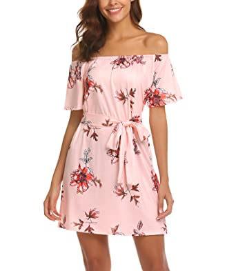 OURS Women's Off Shoulder Ruffles Floral Mini Dress Casual Pleated Party Short Dress with Belt