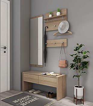 Style Home 4tlg Garderobenset Holz Garderobe 1 Bank 1