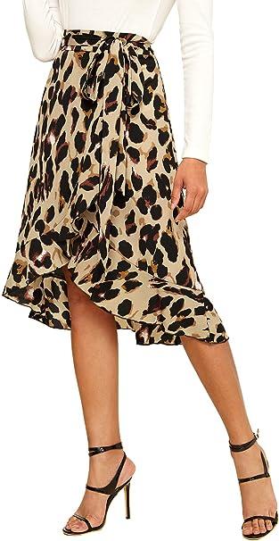 Shein Falda de Mujer con Volantes y Estampado de Leopardo - Multi ...