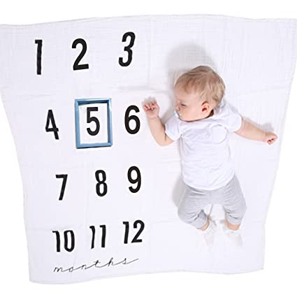 Didida monthly milestone blanket frame photo props two layers muslin thick blanket for babies boy