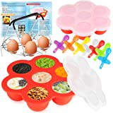 Deluxe Silicone Molds for Egg Bites and Popsicles with 7-Hole Egg Steamer Rack Trivet with Protective Silicone Handles…
