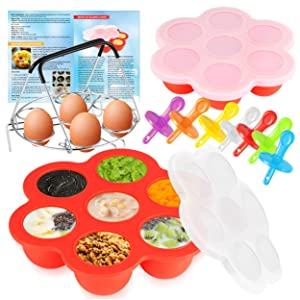 Sanbanfu Pressure Cooker Accessories with Silicone Molds for Egg Bites and Popsicles,Steamer Rack Trivet with Heat Resistant Handles,Recipes,Food Storage and food freeze trays