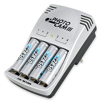 Ansmann Photo CAM III - Cargador para 2-4 baterías NiCd/NiMH AA o AAA (con 4 baterías Recargables NiMH AA 2850 mAh), Color Plata