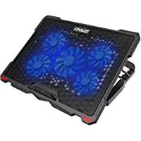 AICHESON Laptop Cooling Pad 5 Fans Up to 17.3 Inch Heavy Notebook Cooler, Blue LED Lights, 2 USB Ports, S035, Blue-5fans
