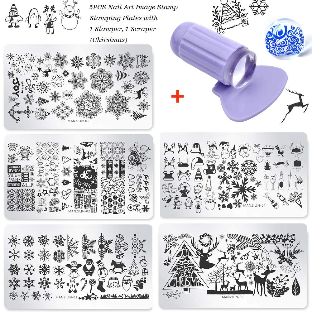 Lookathot 5PCS Nail Art Image Stamp Stamping Plates with 1 Stamper, 1 Scraper Christmas NS411