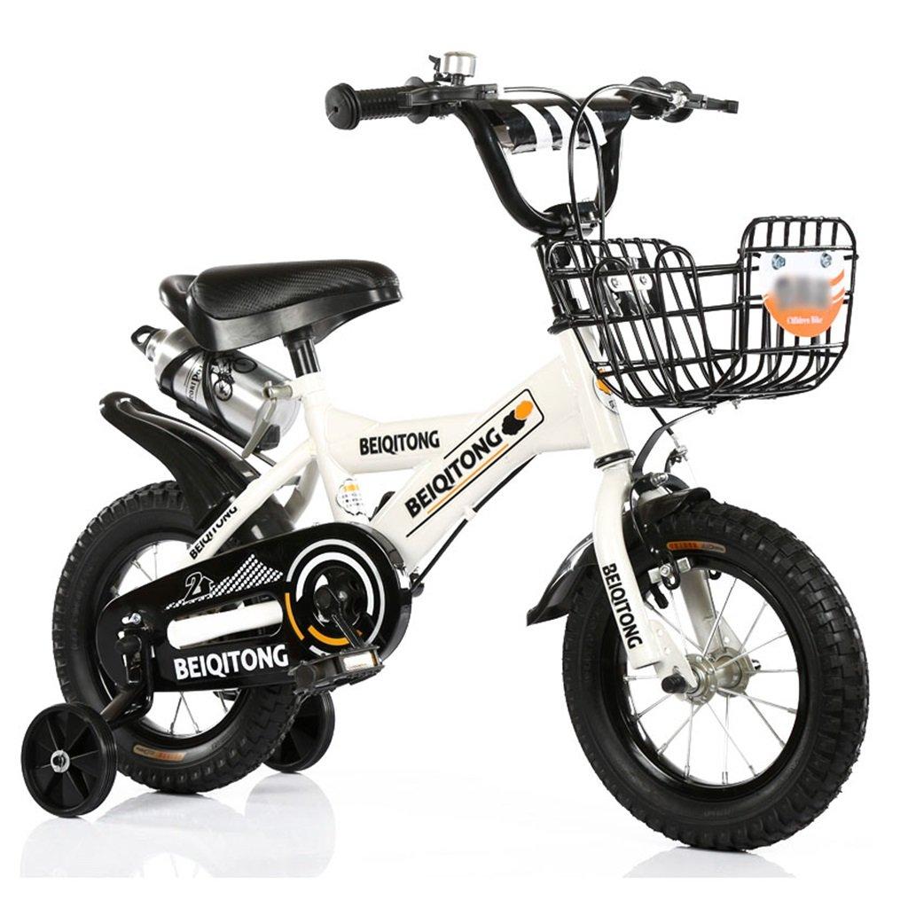 子供の自転車12|14|16|18|20インチ屋外の子供の赤ちゃんキッドマウンテンバイク黒のトレーニングホイールで2歳から11歳の男の子の女の子の贈り物|アイアンバスケット|ウォーターボトルセーフホワイト B078JGH5QQ 18 inches
