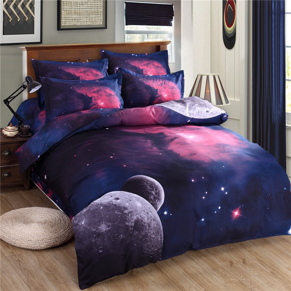 Zhiyuan 3D Solar System Theme Duvet Cover Flat Sheet Pillowcase Set Twin Size