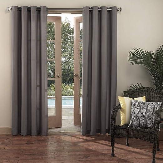 1pc 95 gris color cenador cortina Panel individual, gris sólido patrón de colores rugby exterior Pergola cortinas porche cubierta cabana patio pantalla entrada sol Lanai: Amazon.es: Jardín