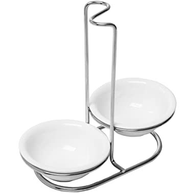 Modern White Ceramic Kitchen Double Ladle Spoon Rest Holder with Polished Stainless Steel Rack