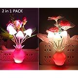 Warmstor 2 PCS Night light Rose Clove Plug In Color Changing LED Mushroom Nightlight Wall Lights Little Decor Lamp