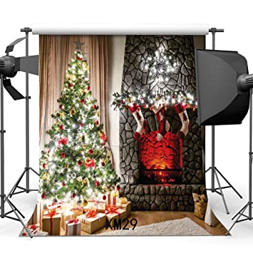 10x10ft300x300cm vinyl photography backdrop christmas tree gifts fireplace stocking garland interior decoration xmas backdrops - Fireplace Christmas Decorations Amazon