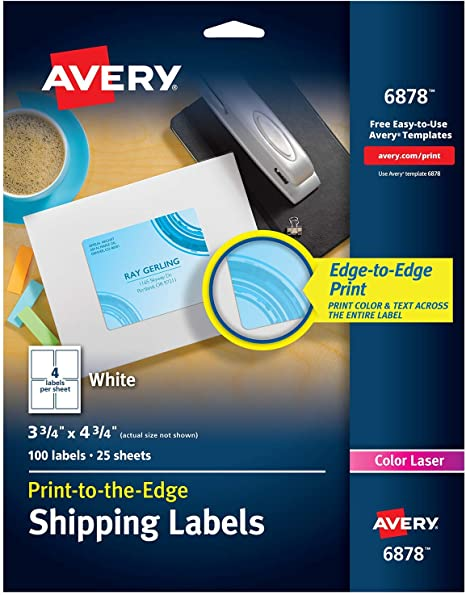Amazon Com Avery 4 X Print To The Edge Shipping Labels For Color Laser Printers And Copiers 3 75 X 4 75 Inch Pack Of 100 6878 Home Kitchen