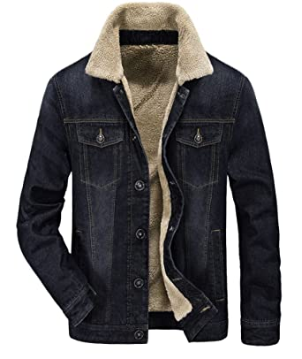 0544d2c9 Zicac Men's Fleeced Denim Jacket Winter Fall Warm Cowboy Coat Outerwear  Parka (S, Black