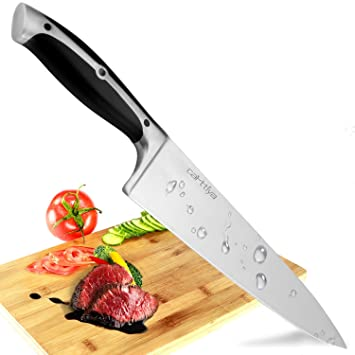 Carttiya Cuchillo de Cocina, 20 centímetro de Largo y el Mango ergonómico de ABS, Ideal Cuchillo para Fruta y Utensilios de Cocina,Plata