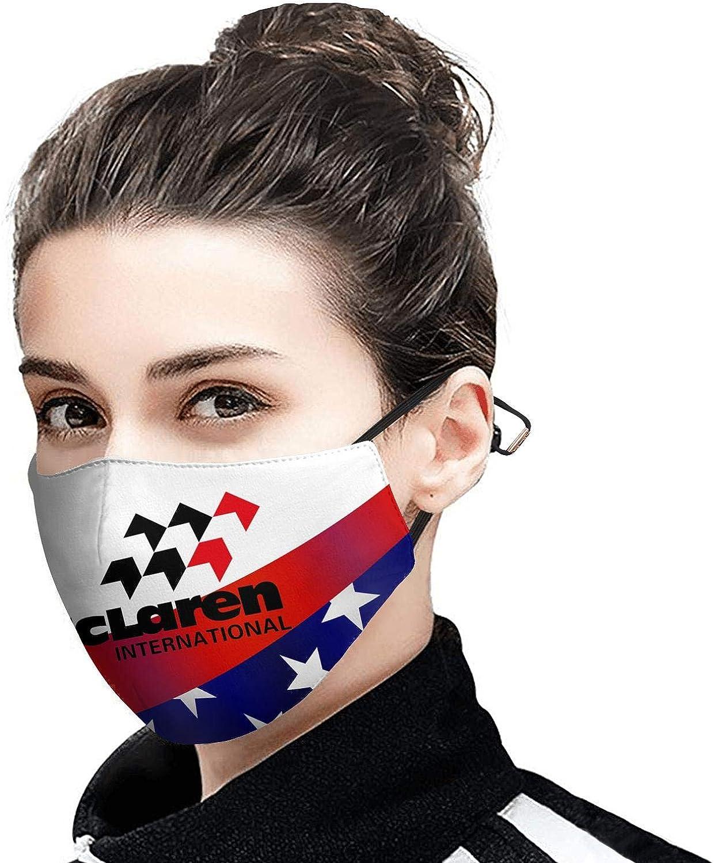 Face Mask for Men Women Rave Face Cover with Adjustable Earloops Sez-Bez McLaren-Logo-Symbol-embelm