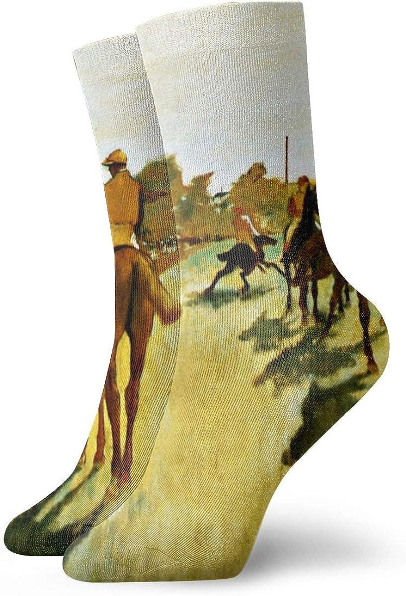 Calcetines de vestir para hombre y mujer, calcetines atléticos para correr, viajes, ciclismo, embarazadas, enfermeras, vuelo- Degas, caballos de carreras antes de los stands