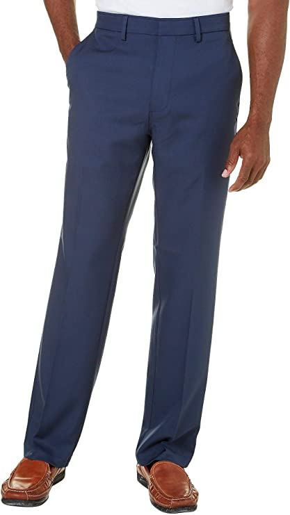 Haggar Mens Solid Gabardine Classic-fit Plain-Front Dress Pant