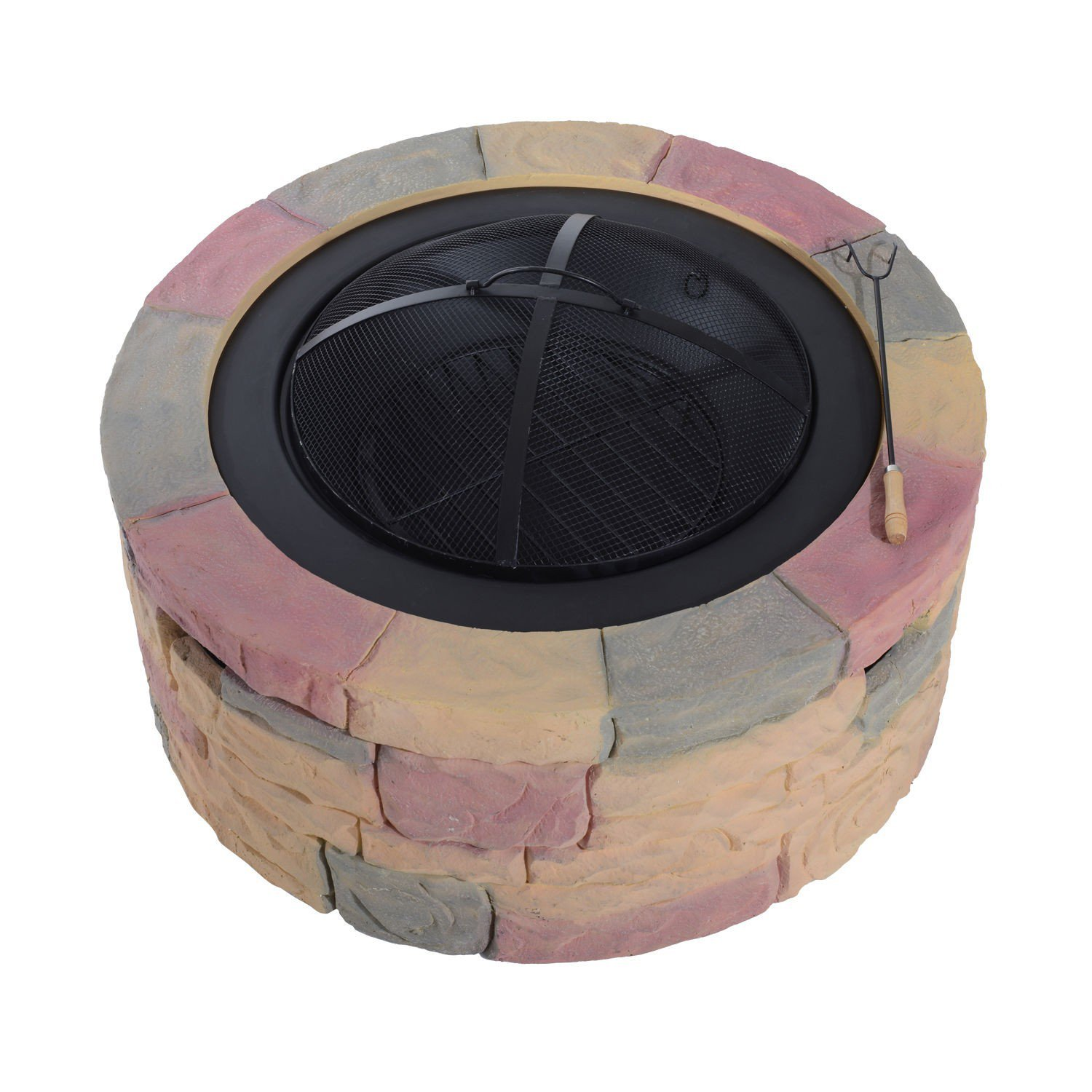 New Firepit 35' Round Stone Design Patio Backyard Outdoor Fire Pit with ebook