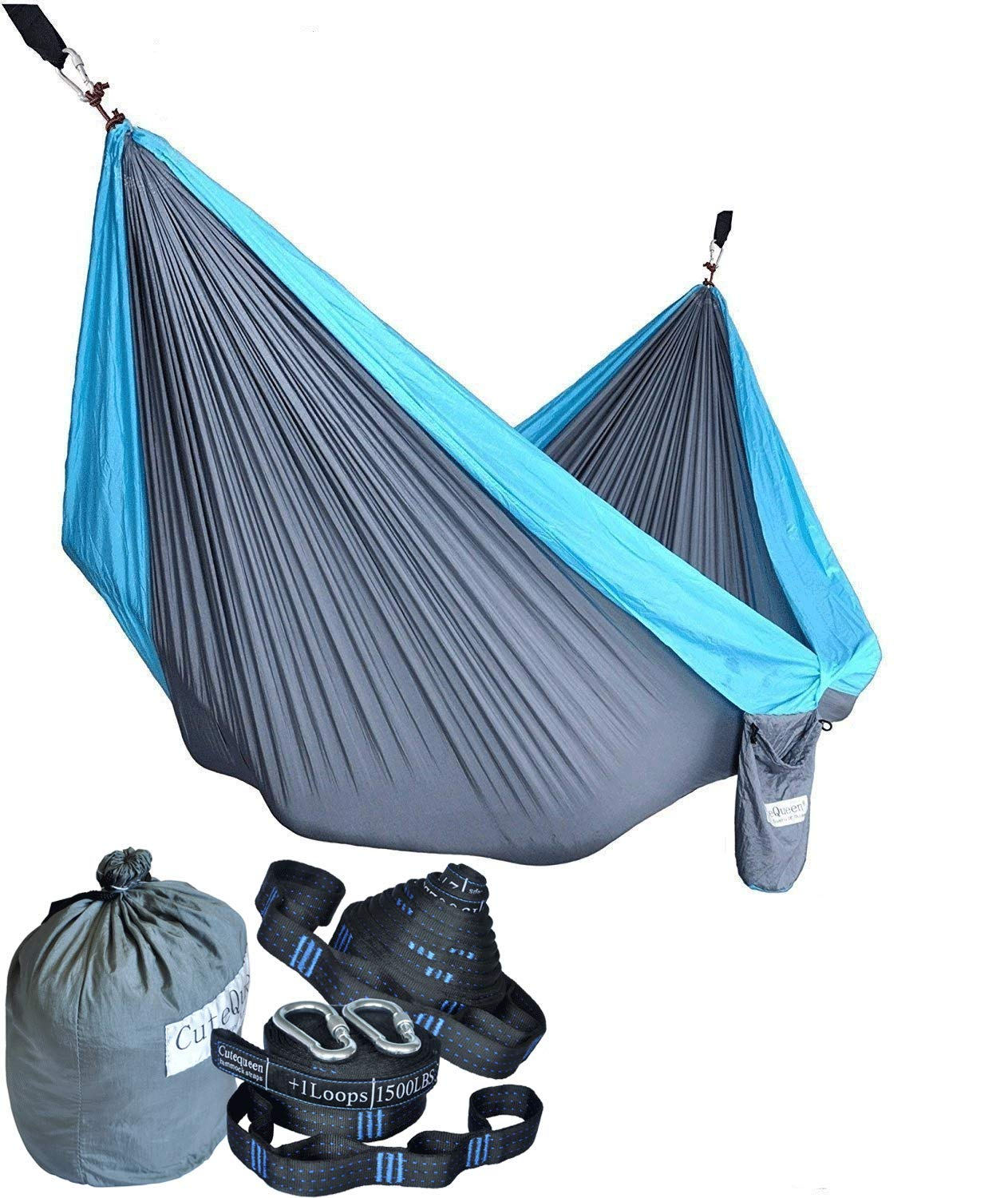 Cutequeen Trading Parachute Nylon Fabric Hammock with Tree Straps;Color: Grey/Sky Blue